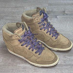 Nike dunk sky hi wedge brown/beige suede